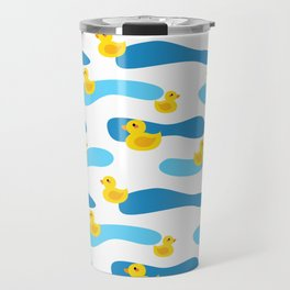 Yellow Rubber Duck with Blue Waves Seamless Pattern Travel Mug