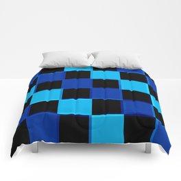 Blue & Black 3D Checkerboard Comforters