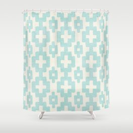 Pastel Marine Blue Turquoise Geometric Watercolor Aztec Pattern Cute Light Hearted Style Shower Curtain