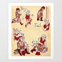 les miserables Art Prints featuring Les Miserables Motivation Meme by Uirukii