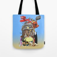 calcifer Tote Bags featuring Studio of Dreams by CromMorc
