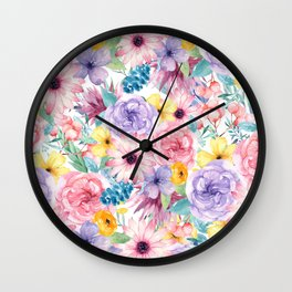 Modern elegant pink lavender yellow watercolor floral Wall Clock