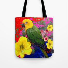 TROPICAL YELLOW-GREEN PARROT RED-BLUE FLORAL Tote Bag