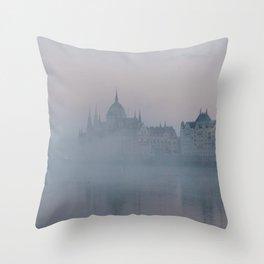 Misty morning, Budapest Throw Pillow
