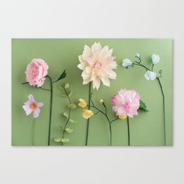 Crepe paper flowers Canvas Print