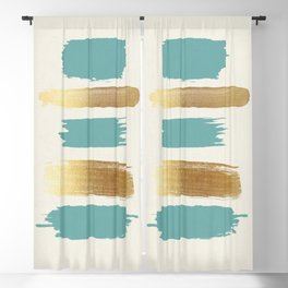 Brush Strokes (Teal/Gold) Blackout Curtain