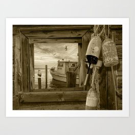 Sepia of Early Morning Harbor viewed through a Window with Fishing Boat, Gulls and Fishing Bouys Art Print