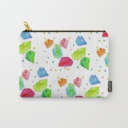 Let Us Shine Like Diamonds fashion, illustration, jewelry, gems, colorful, watercolor, painting Carry-All Pouch
