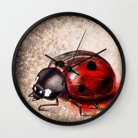 ladybug Wall Clocks featuring Ladybug by Werk of Art