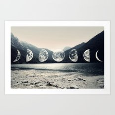 Moonlight Mountains Art Print