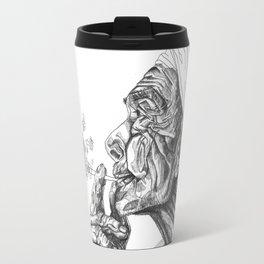 Geometric Graphic Black and White Smoker Drawing Travel Mug