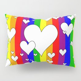 Gay flag with the colors of the rainbow with hearts Pillow Sham