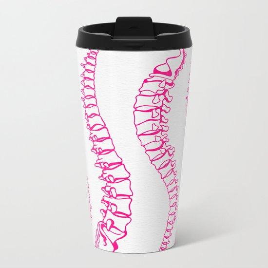 Pink Vertebrae Metal Travel Mug