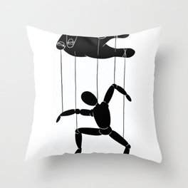 Hand and puppet Throw Pillow