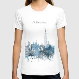 St. Petersburg Russia Monochrome Blue Skyline T-shirt