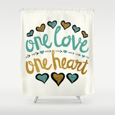 One Love One Heart Shower Curtain