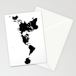 Dymaxion World Map (Fuller Projection Map) - Minimalist Black on White Stationery Cards