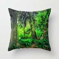 giants Throw Pillows featuring Mossy Giants by JMcCool