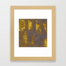 Kassandra, abstract painting yellow on kaki Framed Art Print