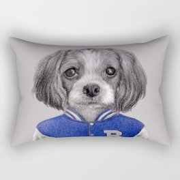 dog boy portrait Rectangular Pillow
