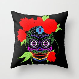 Rosa Adela calavera skull ecopop Throw Pillow
