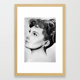 Vintage Pin Up Gina Lollobrigida Portrait Framed Art Print