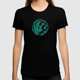 Traditional Teal Blue Chinese Phoenix Circle T-shirt
