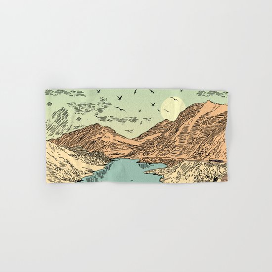 Mountain, Train & Lake Hand & Bath Towel