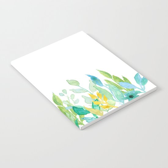 flowers in a meadow - Floral watercolor illustration on white backround Notebook