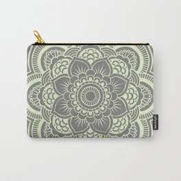 Mandala Flower Gray & Pastel Yellow Carry-All Pouch
