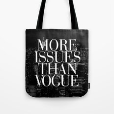 More Issues Than Vogue Black and White NYC Manhattan Skyline Tote Bag