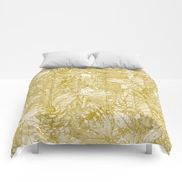 forest floor gold ivory Comforters