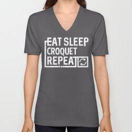 Eat Sleep Croquet Unisex V-Neck