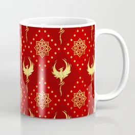 Gold Phoenix and lotus symbol pattern on red Coffee Mug