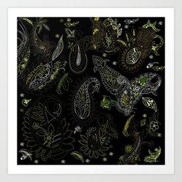Cactus Garden Paisley 2 Art Print