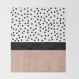Pink marble and dots Throw Blanket
