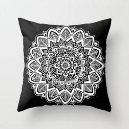Black and White Boho Mandala Throw Pillow