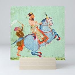 Prince Mathu Singh on a blue horse -Vintage Indian Art Print Mini Art Print