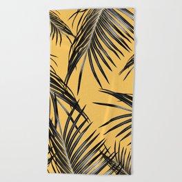 Black Palm Leaves Dream #6 #tropical #decor #art #society6 Beach Towel