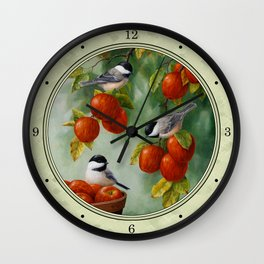 Chickadees and Apple Tree Harvest Wall Clock