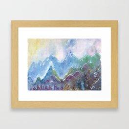 Forest of Light Watercolor Illustration Framed Art Print