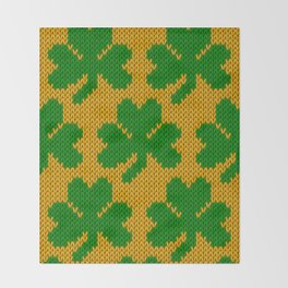 Shamrock pattern - orange, green Throw Blanket