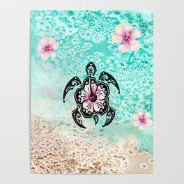 Hibiscus Turtle Poster