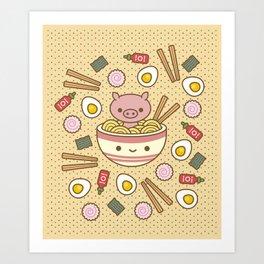 Pig-Chan Ramen Soak Art Print