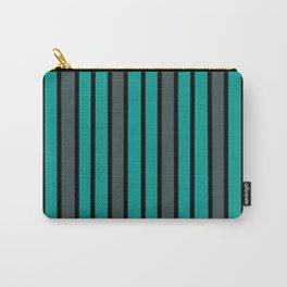 Turquoise, Black & Gray Stripes Carry-All Pouch