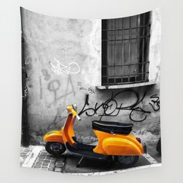 Orange Vespa in Bologna Black and White Photography Wall Tapestry