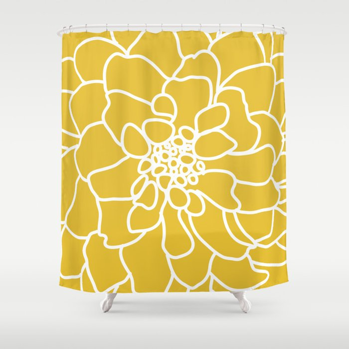 Peony Mustard Yellow Shower Curtain By Aldariartstudio