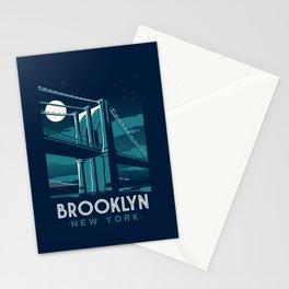 "brooklyn bridge new york city ""midnight series"" Stationery Cards"