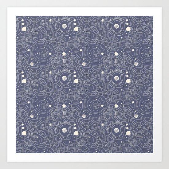 Blue Scribbles Pattern 08 Art Print