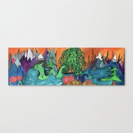 Jovial Nessie Guards Stehekin and the Rose Succulents Canvas Print